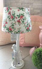 Tischlampe Lampenschirm Rosen Romantik Landhaus Shabby Chic Stoff Weiß Vintage