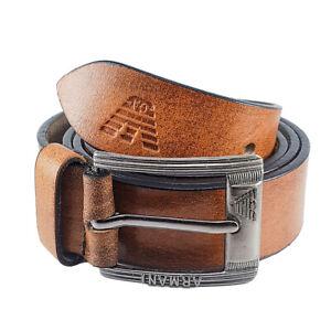 ARMANI Texture Saddle Brown Color Giorgio Armani Leather Men Belt Size 50 Inch