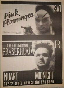 PINK FLAMINGOS, ERASERHEAD RARE ORIG 1979 NEWSPRINT FULL PAGE AD, JOHN WATERS