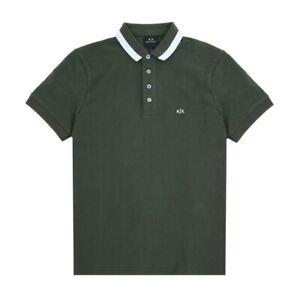 A|X Armani Exchange Authentic Tip Collar Logo Polo Shirt Dark Grey Size M