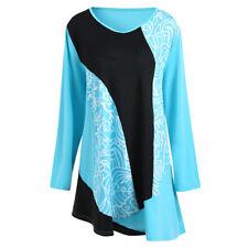Womens Plus Size Long Sleeve Short Dress Casual Loose Long T Shirt Tunic Tops