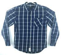 Harley Davidson Black Label Blue Plaid Flannel Button Shirt Men's Tag L Fits M
