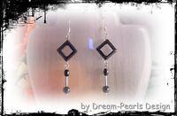 ♥ Dream-Pearls Design Schöne Hämatit Ohrringe schwarz silber ♥ OH069