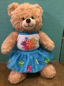 Build-a-Bear Blue Flower Skirt Halter Top Dress Clothes