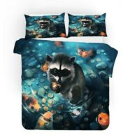 Gift Fantasy Animal Raccoon Fish Frog Bedding Duvet Quilt Cover Set Pillow Case
