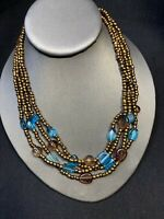 Vintage Boheniman Bronze Color Interesting  Seed Bead Multi Strand Long Necklace