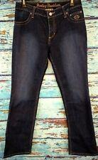 Women Harley Davidson embroidered straight thick stitch jeans Sz 4(31x31.5)(C)