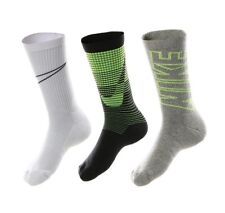 NIKE 3 Pairs Boys Athletic Crew Socks Black Grey Volt YOUTH Small 3Y - 6Y