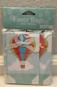 Up Up and Away BABY SHOWER  FAVOR BOXES/ BAGS w/Ribbon 12 count
