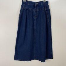 Vintage Lee Womens Denim Skirt S Maxi Modest No Slits Made in USA Dark Wash