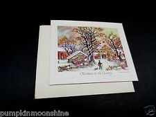 # J452- Vintage Unused Glitter Currier & Ives Xmas Greeting Card Country Road