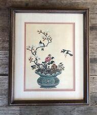LRG PRETTY MID CENTURY / VINTAGE FRAMED ASIAN PRINT BIRD & FLOWER SCENE