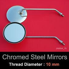 Honda CB360 CB360G CB360T CB 360 G T 10mm Chrome Steel Metal Mirror Round Pair