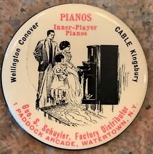 """Vintage Wellington Conover Pianos Advertising Mirror Inner Player 2 1/8"""" NY"""