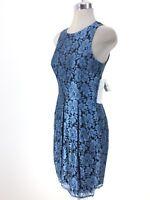 Eliza J NWT Stunning Dress Satin Finish Blue Black Floral Lace size 2 4 6, 8, 12