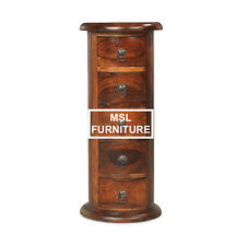 Solid Sheesham Wood 5 Drawer Slim Drum Telephone Side Lamp Table | Madras Range