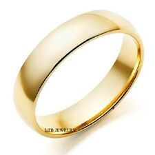 Mens 18K Yellow Gold Plain Dome Wedding Bands Rings 6Mm