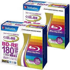 20 Verbatim Bluray 25GB BD-RE 2x Blu ray Rewritable Video HD Inkjet Printable