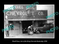 OLD LARGE HISTORIC PHOTO OF THRALL TEXAS, THE KRIEG CHEVROLET GARAGE c1950