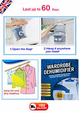 8x Hanging Wardrobe DEHUMIDIFIER Stop Moisture Interior Damp Mould Trape Bag -UK