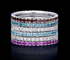 1.56ct ROUND DIAMOND AMETHYST TOPAZ ONYX GEMSTONE 14K SOLID WHITE GOLD BAND RING
