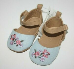 NEW Old Navy Girls 3-6 MONTHS Pink Flowers Floral Crib Shoes Blue NWT