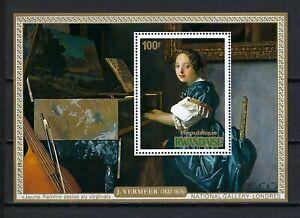 Rwanda 1975 Sc#684  Art-Vermeer-Young Woman Playing Virginal  MNH Souvenir Sheet
