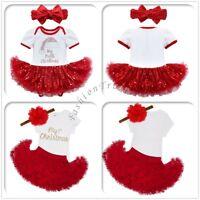 Baby Girls Kid My 1st Christmas Tutu Dress Skirt Princess Romper Outfits Costume