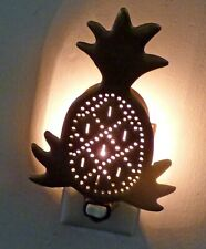 Vintage Primitive Pineapple Night Light Punched Metal Brass Electric Wall Plug