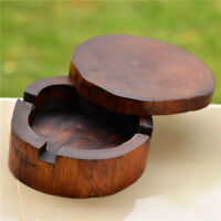 Wooden Cigarette Ashtray Smoking Round Tobacco Tray Gift Home Decor Natural d