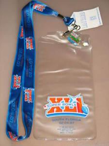 NFL Super Bowl XLI 41 Bears Colts Ticket Holder Pin Lanyard South Florida Gator