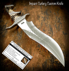 IMPACT CUTLERY RARE CUSTOM D2 MASSIVE ART SUB HILTED BOWIE KNIFE STAG ANTLER