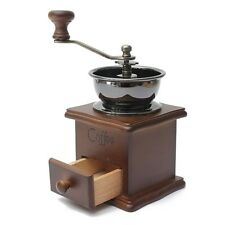 Retro design Mini Manual Coffee Mill Wood Stand Bowl Antique Hand Coffee Grind