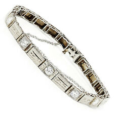 Vintage Five Diamond Tennis Bracelet in 14kt White Gold 1.25ctw Engraved