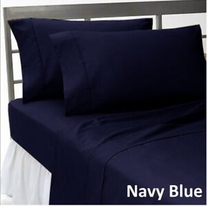 Pretty Bedding Collection 1000 TC Egyptian Cotton US Sizes Navy Blue Solid