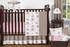 Unique Discount Pink & Brown Mod Elephant Bumperless Baby Girl Crib Bedding Set