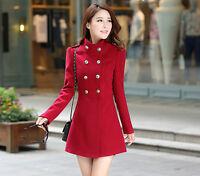 Gashion Women's Wool Blend Double Breasted Military Coat Long Outwear Jacket