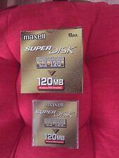 Caja de 10 Maxell Super Disco LS-120 120 MB Super disquetes de Disco Nuevo