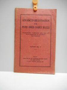Vintage - ADVANCED REGISTRATION FOR PURE BRED DAIRY BULLS Booklet - OTTAWA 1937