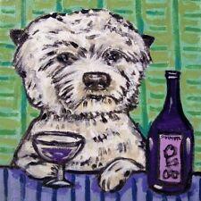 west highland white terrier westie wine art decor tile coaster dog gift animal