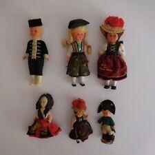 6 poupées personnages collection tradition folklore fait main XXe PN France