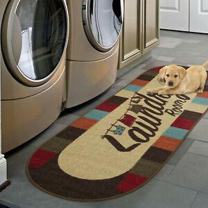 "Laundry Room Rug Runner Mat Non-Slip Stain Resistant Charming Wash Room 20""x59"""