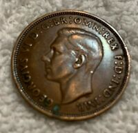 1938 Great Britain One Penny George  VI World Coins UK Circulated VF+ 31MM Dia