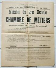 Affiche ancienne LISTE ELECTORALE CHAMBRE DE METIERS 1938 vintage old poster