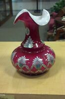 Fenton Art Glass Case Glass Vase Hand Painted