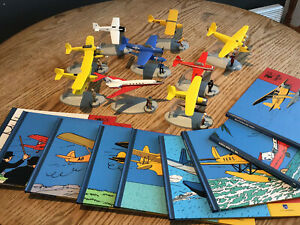 En avion Tintin miniatures planes 1 to 9 with books - Moulinsart editions 2014