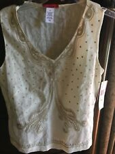 New ANNE KLEIN Ivory Linen Embroidered Women's Sleeveless Tank Top Small 4 NWT