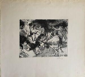 ENNIO CALABRIA acquaforte 1965 Fiera Campionaria 48x44 firmata numerata