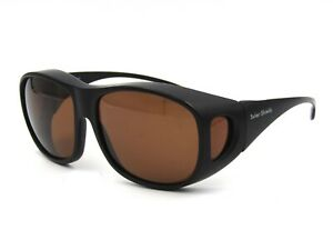 Solar Shield Unisex Polarized Fits Over Sunglasses, Squared. Black / Brown #64I
