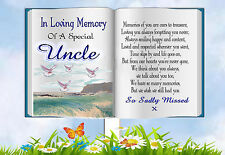 UNCLE BOOK SHAPED MEMORIAL BEREAVEMENT GRAVESIDE  CARD & FREE HOLDER 1